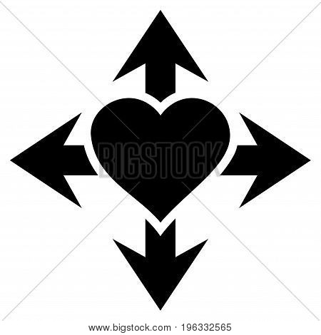 Expand Love Heart flat icon. Vector black symbol. Pictograph is isolated on a white background. Trendy flat style illustration for web site design, logo, ads, apps, user interface.