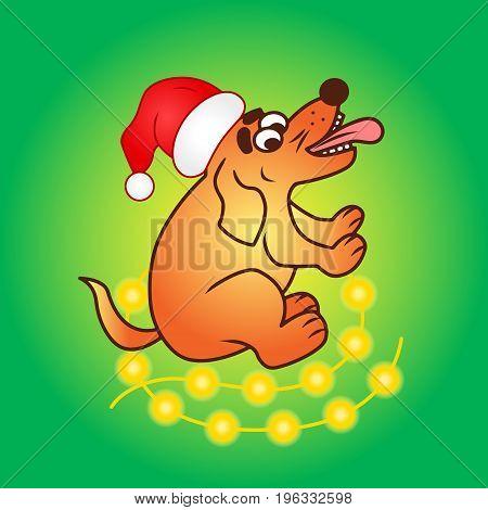 Christmas Dog vector in santa cap colored illustration sketch animal