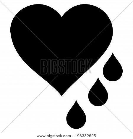 Heart Blood Drops flat icon. Vector black symbol. Pictogram is isolated on a white background. Trendy flat style illustration for web site design, logo, ads, apps, user interface.