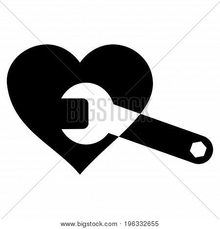 Heart Surgery Wrench flat icon. Vector black symbol. Pictogram is isolated on a white background. Trendy flat style illustration for web site design, logo, ads, apps, user interface.