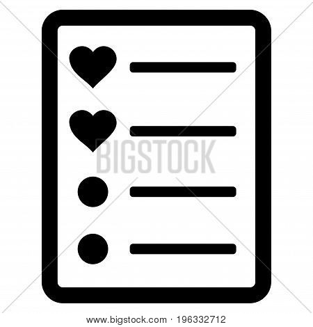 Love List Page flat icon. Vector black symbol. Pictogram is isolated on a white background. Trendy flat style illustration for web site design, logo, ads, apps, user interface.