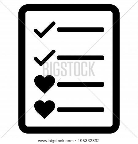 Lovely List Page flat icon. Vector black symbol. Pictograph is isolated on a white background. Trendy flat style illustration for web site design, logo, ads, apps, user interface.