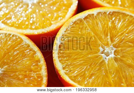 Background from the oranges cut in half