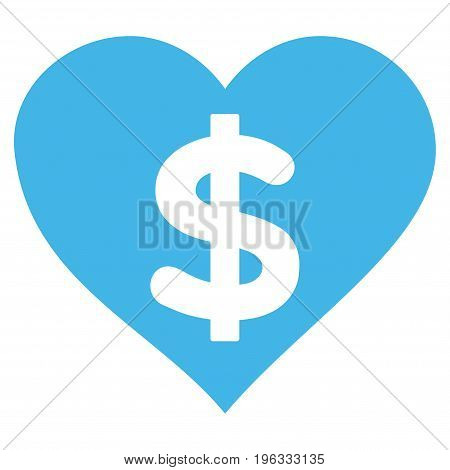 Paid Love flat icon. Vector blue symbol. Pictograph is isolated on a white background. Trendy flat style illustration for web site design, logo, ads, apps, user interface.