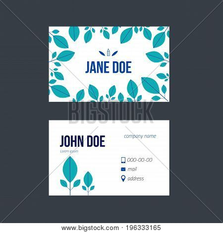 Simple blue business card design for your promotion in trendy scandinavian style with geometric leaves for florist.