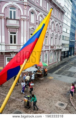 Colombian Flag Street Corner