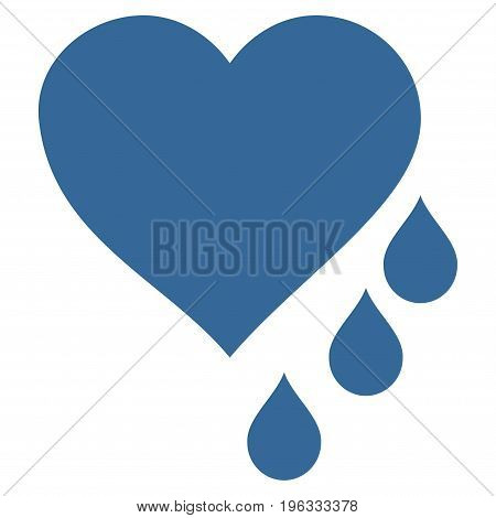 Heart Blood Drops flat icon. Vector cobalt symbol. Pictograph is isolated on a white background. Trendy flat style illustration for web site design, logo, ads, apps, user interface.