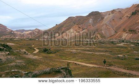 The beginning of Laugavegur trail from Landmannalaugar through The Rainbow Mountains on Iceland