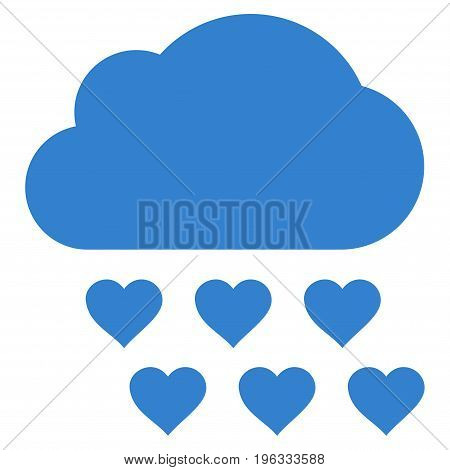 Love Rain Cloud flat icon. Vector cobalt symbol. Pictogram is isolated on a white background. Trendy flat style illustration for web site design, logo, ads, apps, user interface.