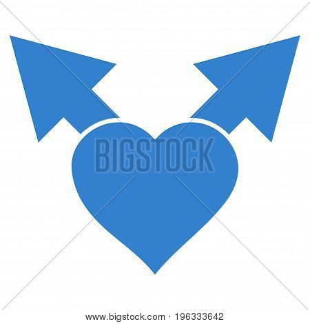 Love Variant Arrows flat icon. Vector cobalt symbol. Pictograph is isolated on a white background. Trendy flat style illustration for web site design, logo, ads, apps, user interface.