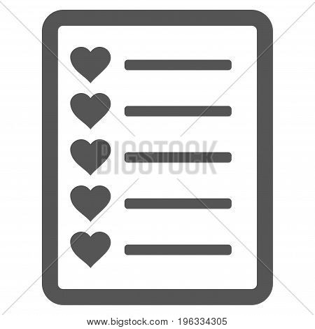 Favourites List Page flat icon. Vector gray symbol. Pictograph is isolated on a white background. Trendy flat style illustration for web site design, logo, ads, apps, user interface.