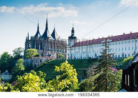 KUTNA HORA CZECH REPUBLIC - MAY 21 2017: Saint Barbara's Church (Chram svate Barbory) with teras of Jesuit hall of residence (Jezuitska kolej).