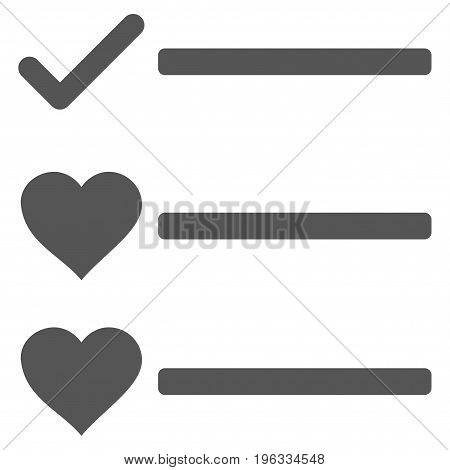 Love List flat icon. Vector gray symbol. Pictograph is isolated on a white background. Trendy flat style illustration for web site design, logo, ads, apps, user interface.