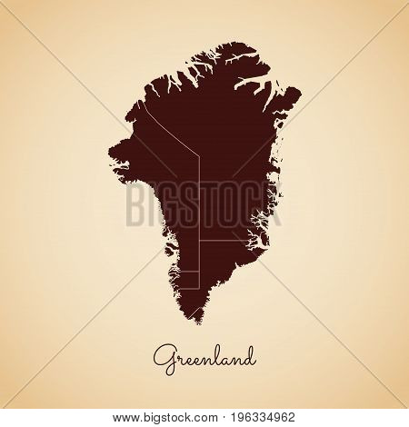 Greenland Region Map: Retro Style Brown Outline On Old Paper Background. Detailed Map Of Greenland R