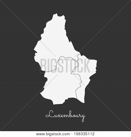 Luxembourg Region Map: White Outline On Grey Background. Detailed Map Of Luxembourg Regions. Vector