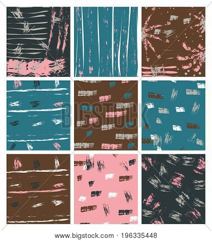 Artistic cards in pink blue and brown colors with hand drawn look