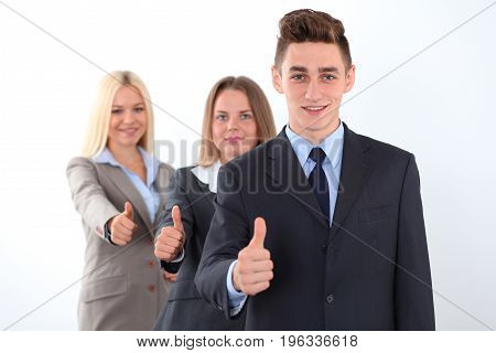 Group of business people, thumbs up. Start-up concept