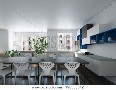 3d render of a modern spacious open plan kitchen dining room with stylish contemporary furniture and potted plants in white and black decor