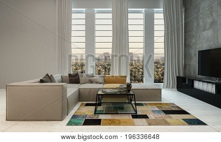 Cozy urban apartment living room with bold geometric carpet and comfortable couch with coffee table and television in front of long windows overlooking the city in a 3d render