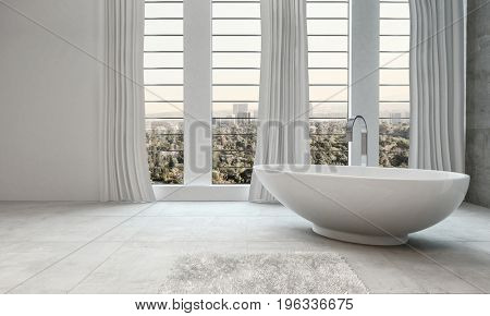 Elegant modern white bathroom interior with a boat-shaped freestanding tub in front of tall windows overlooking the city, long drapes and floor tiles in a 3d render