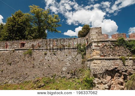 Ruined wall of an ancient castle. Ukraine, Uzhhorod