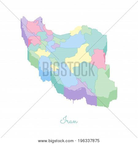 Iran Region Map: Colorful Isometric Top View. Detailed Map Of Iran Regions. Vector Illustration.