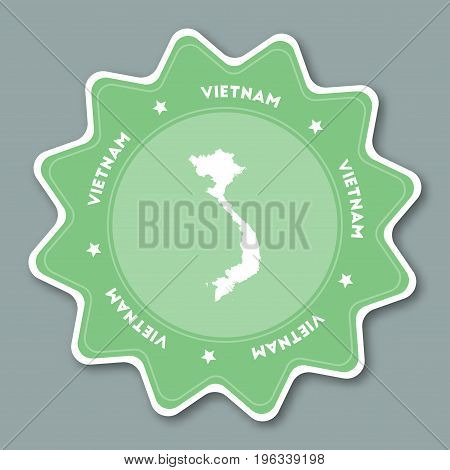 Vietnam Map Sticker In Trendy Colors. Star Shaped Travel Sticker With Country Name And Map. Can Be U