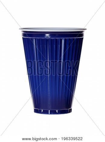 Dark blue plastic cup isolated on white. High resolution photo.