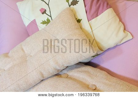 Cushions on a sofa in a living room