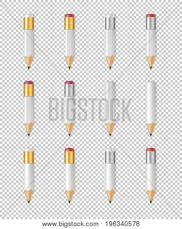 Realistic vector white empty wood sharp pencil icon set. Closeup isolated on transparent background. Design template for branding, mockup. EPS10 illustration.