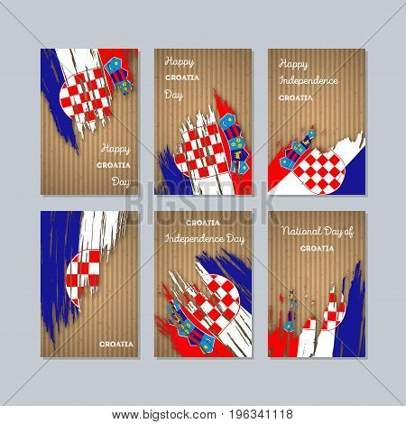 Croatia Patriotic Cards For National Day. Expressive Brush Stroke In National Flag Colors On Kraft P
