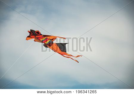 Close-up of colorful kite flying in sunny sky with clouds in the city center of Ostia. The town is a seaside resort and ancient port of Rome. Located in the Lazio region