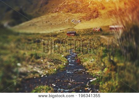 Tilt-shift view of fast mountain stream surrounded by hills meadows and motley grass on summer sunny day; several shielings in distance Altai Russia Kuyus district
