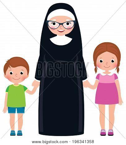 Senior nun holding hands boy and girl children vector cartoon illustration