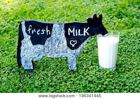 Fresh Milk - Handwritten In Chalk On Blackboard Cow On Grass With Glass Of Milk
