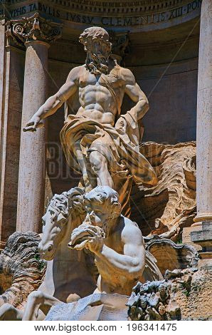 Close-up of the world-famous Trevi Fountain at the city center of Rome, the incredible city of the Ancient Era, known as
