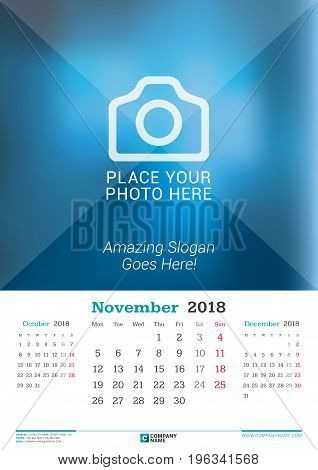 November 2018. Wall Monthly Calendar For 2018 Year. Vector Design Print Template With Place For Phot