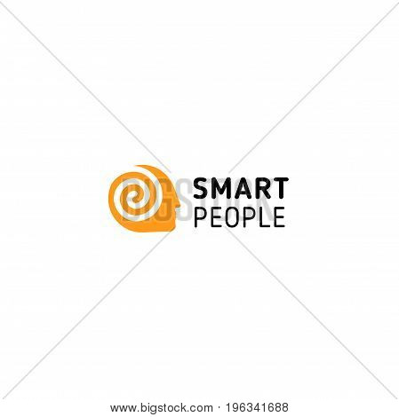 Orange man had with spiral inside symbolizing think, mind, brain and smart people. Vector isolated unusual logo