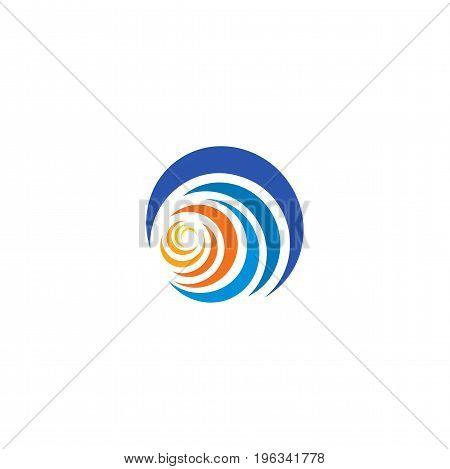 Blue wave and yellow, orange sun, sunset and sunrise logotype. Isolated abstract decorative logo, design element template on white background.