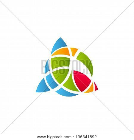 Cubism art logotype, colorful stained-glass window template. Isolated abstract decorative logo, ragged design element on white background