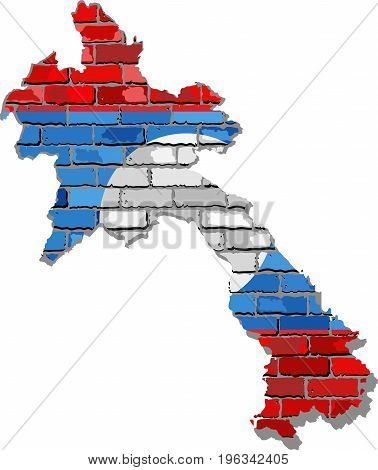 Laos map on a brick wall - Illustration,   Laos map with flag inside