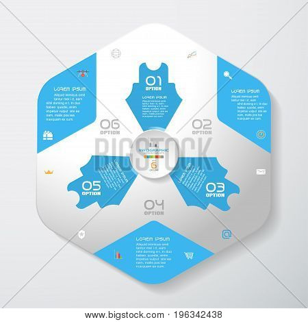 Vector infographic of gradient gray convex hexagonal form with blue corners and arrows concave circle cut from paper with shadows text and icons on the gradient gray background.