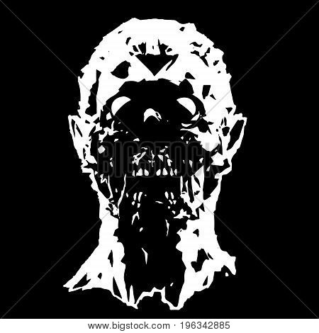 The head of the screaming zombie character. Vector illustration. Scary halloween character face.