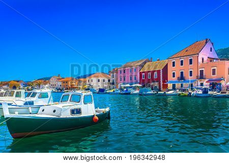 Colorful adriatic scenery in Dalmatia region, Island Hvar seascape in Croatia, Europe.