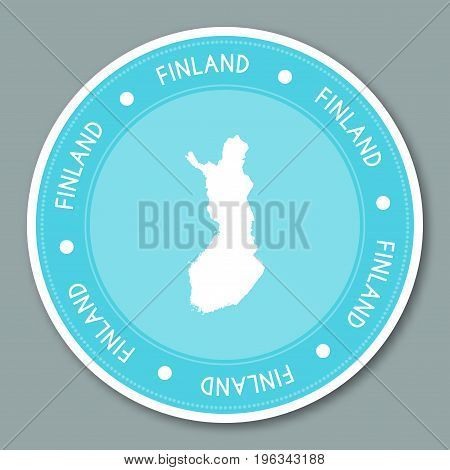 Finland Label Flat Sticker Design. Patriotic Country Map Round Lable. Country Sticker Vector Illustr
