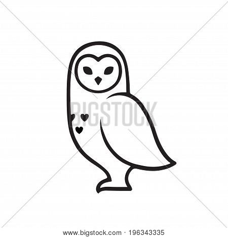 White polar owl minimal logo stylized line icon. Vector illustration.