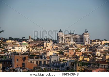 View of the Altare della Patria, a monument built in honor of king Victor Emmanuel in Rome, the incredible city of the Ancient Era, known as