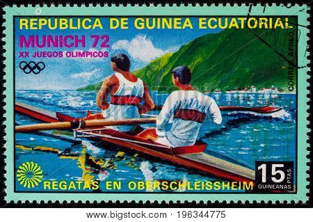 Moscow Russia - July 21 2017: A stamp printed in Equatorial Guinea shows academic rowing series