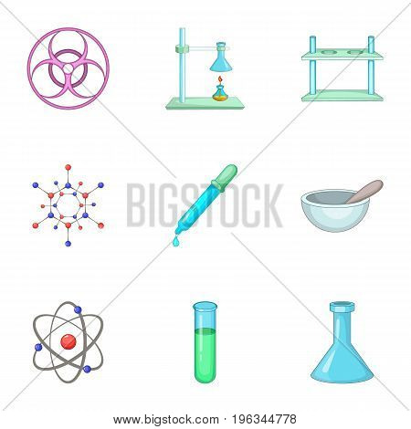 Dangerous research icons set. Cartoon set of 9 dangerous research vector icons for web isolated on white background