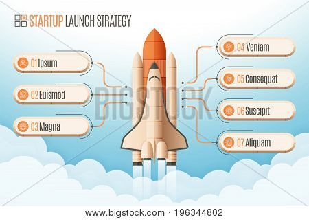 Infographics template with seven structure elements of startup strategy. Rocket or space shuttle launch. Vector illustration